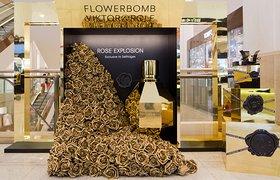 伦敦Flowerbomb玫瑰橱窗设计