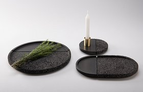 This Set Of Plates Are Made From Volcanic Stone