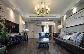 美式与中式混搭,高级灰与经典蓝筑造精致优雅三居室